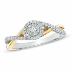 1/4 Ct Real Diamond Frame Twist Promise Ring In 10k Two-tone Gold