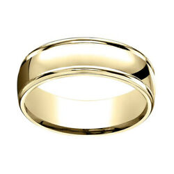 18k Solid Yellow Gold 7mm Comfort Fit High Polish Round Edge Band Ring Sz 8