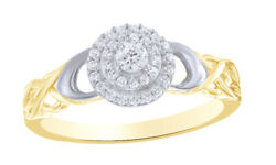 1/4 Ct Real Diamond 10k Yellow Gold Double Frame Loose Braid Shank Promise Ring