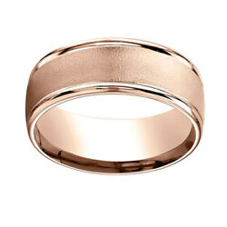 8mm Comfort Fit Wire Brush Finish Round Edge 14k Rose Gold Band Ring Sz 13
