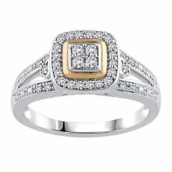 1/4 Ct Quad Real Diamond Frame Promise Ring In 10k Two-tone Gold