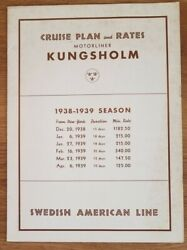 Kungsholm Swedish American 1938 Cruise Deck Plan And Rates, Photos