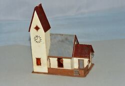 N Scale Pre-built Church With Wired Led - Approx. 4 1/2 X 2 3/4 X 5 3/4 Inches
