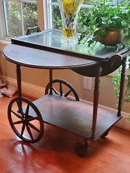 Vintage Teacart -wood- Drop Leaf Top With Serving Tray,draw And Rubber Wheels.