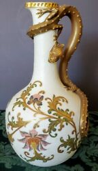 Royal Worcester 1870-80and039s Hand Made Porcelain Ewer-pitcher W-dragon Handle Fine