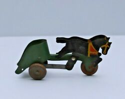 Antique American Toy And Manufacturing Co. Black Horse Green Chariot Pull Toy