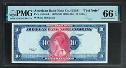 Nqc Specimen 1929 Nd 1960s-70s 10 American Bank Note Without Hologram Gu 66 Epq