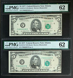 Nqc Low Consecutive Serial Numbers 37 And 38 - Fr. 1974-f 1977 5 Frn Unc 62
