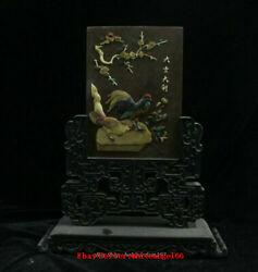 19 Antique Chinese Palace Ebony Wood Inlay Shell Rooster Cock Folding Screen