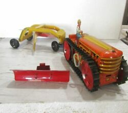 Rare 1950and039s Marx Windup Tractor With Plow And Earth Grader Nr Mint W/partial Ob