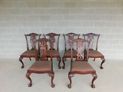 Maitland Smith Chippendale Style Mahogany Ball And Claw Foot Set Of 6 Side Chairs
