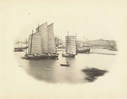 C. 1860and039s View Of Boats On Chinese River By William Saunders Large Albumen Photo