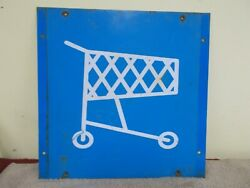 Vgt Shopping Cart Sign Advertizing Store Display Gas Oil Grocery 12 X 12 Patina