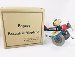 Vintage 1940s Marx Wind Up Tin Toy Popeye The Pilot Airplane With Repro Box