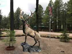 Elk On The Rock In Natural Color Aluminum Statue Head Turning Left
