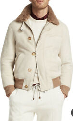 New Brunello Cucinelli M Shearling Suede Bomber Leather Jacket Knit Rib Trim