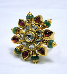 Vintage Antique 22 K Gold Diamond Emerald Ruby Ring Cocktail Ring