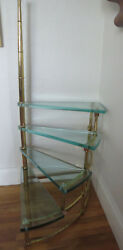 Rare 1950s Brass And Glass Library Step Ladder Table Attributed To Fontana Arte