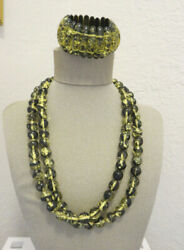 Clear Black Gold Flakes Lucite Beaded Necklace And Bracelet Set