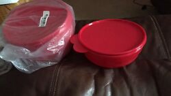 Tupperware Impressions Bowl Set 4 -new-popsicle Red Cereal Bowls And Seals