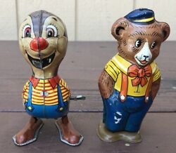 Vintage Chein Bear And Marx Chipmunk Tin Litho Wind Up Toy Made In Usa /japan