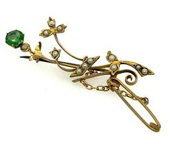 GREEN GARNET Art Deco Style 9ct Yellow Gold Brooch RARE AUTHENTIC Vintage
