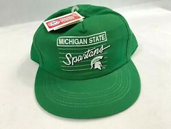 Michigan State Spartans Script Snapback Hat Cap Front Row Vintage Usa Made
