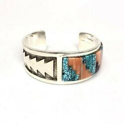 Navajo Vintage Cuff Bracelet Early 80and039s Museum Quality Signed By H. Jim