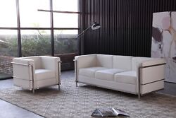 Jandm Furniture Modern Cour Italian Leather Sofa And Chair Set. Choice Of 2 Colors