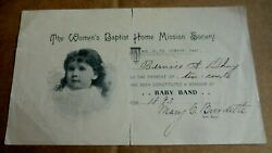 The Womenand039s Baptist Home Mission Society Baby Band Membership Certificate 1893