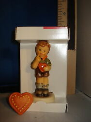 Hummel Be Mine Boy With Heart Pin German Porcelain 3 Inches 1314 Cab 2