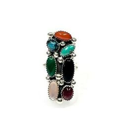 Native American Vintage Sterling Silver Multicolor Ring Signed By F.