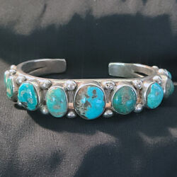 Navajo Turquoise Coin Silver Bracelet Native American 9 Stone Museum Quality