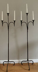 Antique Pair Primitive Wrought Iron Floor Candle Stand Hand Forged Candelabras
