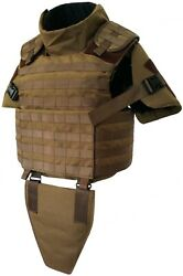 Large Coyote Full Body Armor Plate Carrier Molle Vest Iiia Made With Kevlar Inc