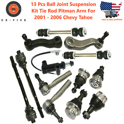 13 Pc Ball Joint Suspension Kit Tie Rod Pitman Arm For 2001 - 2006 Chevy Tahoe