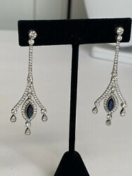 Marquise Blue Sapphire And Diamond Drop Earrings. Handmade In Platinum.
