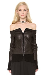 Nwt Kaufmanfranco Off The Shoulder Black Leather Jacket 1495 Size S