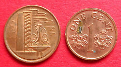Singapore Pair Different Design Vintage 1 Cent Coins 1982 And 2001 In High Grades