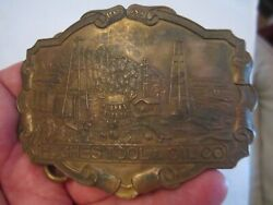 Antique Howard Hughes Tool And Oil Company Belt Buckle - 4 X 3 Made England Gw8