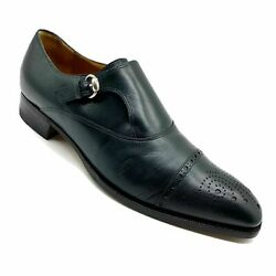 Gucci Dark Green Leather Single Monk strap Cap Toe Brogue Shoes Size 9.5 US 10.• $324.99