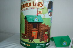 K'nex Lincoln Logs Set Fort Red Pine 83 Piece Tin Container 00837 Complete