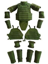 Green Set Body Armor Gear Protection Bulletproof Tactical Vest Pads