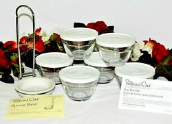 Pampered Chef Prep Bowl Set Of 6 One Cup Bowls W/lids And Spoon Rest Nib