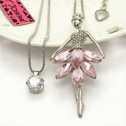 Crystal Pink Fashion Girl CZ Double Pendant Betsey Johnson Chain Woman Necklace