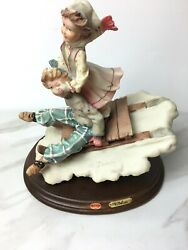 Vintage A. Belcari Boy And Girl Figurine Sledding Made In Italy