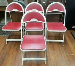 Set Of 4 Mid Century Durham Metal Folding Chairs W Red Pads Retro