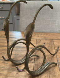 Pair Vintage Bronze Flower Candlestick Holders And Vine Calla Lily Shaped 12andrdquo T