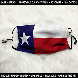 Texas Flag Face Mask with Nose Wire Custom made 100% Cotton Reusable Washable $12.00