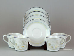 Royal Doulton Hampstead Set 4 Cups And Saucers, Superb Fresh Flowers, Ls1053